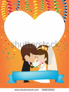 Bride and Groom Vector cartoon - stock vector