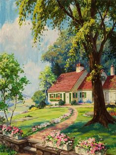 Vintage Calendar Embossed Litho Cottage Scene X Watercolor Landscape, Landscape Paintings, Watercolor Art, Beautiful Paintings, Beautiful Landscapes, Oil Pastel Drawings, Cottage Art, Lake Cottage, Country Art