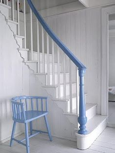 Beautiful Newel post with plain simple spindles.....perfect for the look I'm after.  Simple but striking - handrail painted a contrasting colour