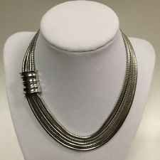Vintage Givenchy Necklace 5 Snake Chain Silver Plated Collar Necklace Rare