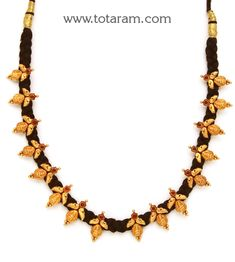 Gold 'Lakshmi kasu' Necklace with Black Thread (Temple Jewellery) - - Indian Jewelry from Totaram Jewelers Bridal Jewelry, Gold Jewelry, Beaded Jewelry, Thread Jewellery, Temple Jewellery, Gold Mangalsutra Designs, Onyx Necklace, Black Thread, Jewelry Patterns