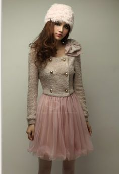 390d1155dae Everbuying Mobile offers high qualit British Style Scoop Neck Splicing  Chiffon Long Sleeves Bowtie Design Sweet Woolen Blend Women s Dress at  wholesale ...