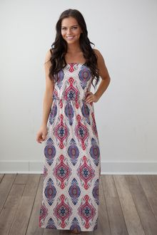 Printed Tube Maxi - Red/Navy/Beige