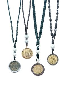 ancient coin jewelry with leather and natural pearls.  www.artemisdesignsmiami.com