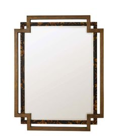 Century Furniture Oscar de la Renta Tortoise Parchment and Brass Mirror