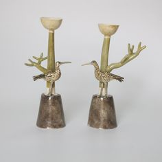 branched pair of candlesticks with curlews / 26 cm Earthenware, Candlesticks, New Work, Candle Holders, Pottery, Ceramics, Ceramica, Ceramica, Candle Sticks