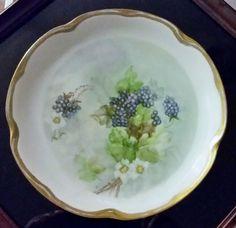 "Vintage J C & Louise Bavaria 8 1/2"" Collectors Plate Handpainted Blackberry Gold #JCLouiseBavaria"
