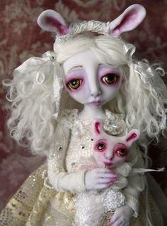 "OOAK ""Snow Bunny"" by Pearl Moon Arts."