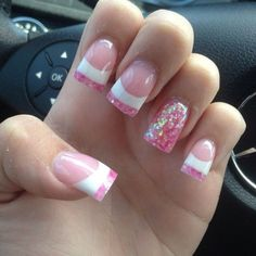 Pink and white tips w/ accent nail