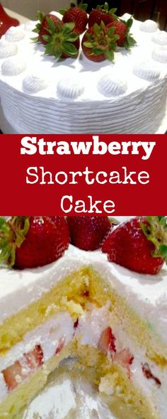 Strawberry Shortcake Cake. A wonderful refreshing cake packed with strawberries and a whipped cream frosting.   Lovefoodies.com