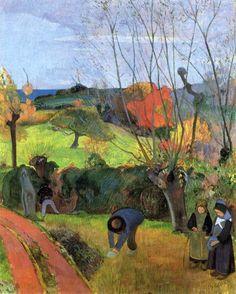 "Paul Gauguin, "" Breton Landscape,  The Willow ""."
