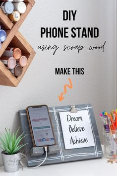 Learn how to make a DIY phone stand with space to add a quote or photograph using scrap wood. It's a great DIY gift idea and the perfect desk accessory. #scrapwood #beginnerwoodworking…