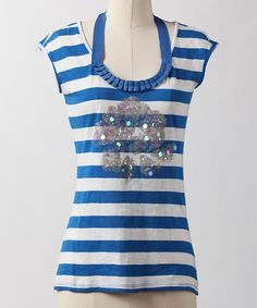 Take a look at this Imperial Blue Stripe Top on zulily today!