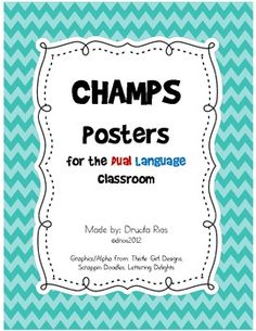 This is great for my school! you should pin this! CHAMPS Posters for Dual Language Classroom Bilingual Centers, Bilingual Classroom, Bilingual Education, Champs Behavior Management, Sports Theme Classroom, Classroom Ideas, Champs Posters, Spanish Lessons For Kids, Spanish Activities