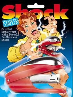Shock Stapler the Shocking Stapler by Hepkat Provisioners. $2.85. Cure that stapler thief with a powerful shock!. Great for that guy who is always borrowing your stapler! Leave this harmless looking stapler out on your desk and when they try to use it - ZAP! A harmless shock goes through their fingers - not enough to hurt, just enough to make 'em jump! (Shock Stapler a.k.a. shocking stapler). Comes with battery.
