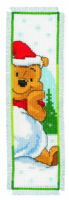 Vervaco Counted Cross Stitch Bookmark Kit Christmas Pooh | Needlework | Kits | Minerva Crafts. {}