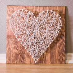 String Art Heart on Stained Wood by NaptimeChic on Etsy, $20.00