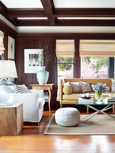Perfect Pairing Even small homes can live large, thanks to smart furniture choices and use of space. When space is limited, keep scale in mind and find furniture that isn't oversize. A glass coffee table and sofa and chairs with exposed legs do the trick in this tight living room.
