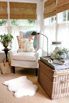 design indulgence: July 2013 (wing chair slipcover) love the tray on topnof the basket Estilo Country, Sunroom Decorating, Slipcovers For Chairs, Diy Room Decor, Home Decor, My New Room, Porches, Beautiful Interiors, Chair Design