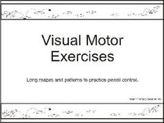 Visual Motor Exercises Free Sample PAges