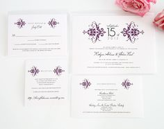 Elegant damask wedding invitations in eggplant purple.
