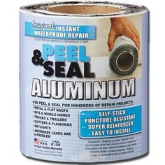 Peel & Seal Instant Waterproof Repairs x Aluminum Roll Flashing at Lowe's. A unique self-adhesive instant waterproof repair and flashing material. A super reinforced aluminum surface and rubberized asphalt adhesive that will Architectural Shingles Roof, Aluminum Uses, Grey Laminate, Diy Camper, Camper Life, Camper Ideas, Vintage Trailers, Vintage Motorhome, Vintage Rv