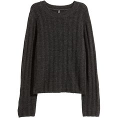 Ribbed jumper 89.90 (€11) ❤ liked on Polyvore featuring tops, sweaters, drop shoulder sweater, long sleeve tops, h&m sweaters, dark gray sweater and dark grey sweater