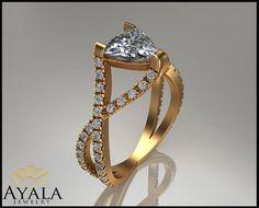 14K White Gold Diamond Ring , Engagement ring,Trillion Cut Diamond,Promise Ring,Diamond Ring,solitaire Engagment Ring,anniversary ring.