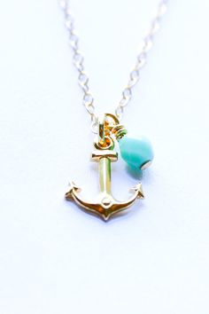 Gold anchor necklace  nautical jewelry  gold by SeaAndCake on Etsy, $36.00
