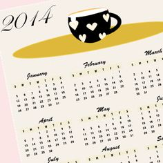 Free printable 2014 calendar coffee art - ausdruckbarer Kalender - freebie   MeinLilaPark – digital freebies