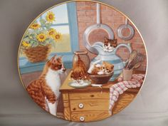 Orange White Tabby Cat Kittens Table Manners Collector Plate Gee Gerardi 1988 | eBay