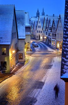 Invierno en Bayern Rothenburg, casco antiguo medieval, Baviera, Alemania
