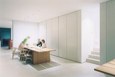 Dining room inside the Nordrhein-Westfalen House,  Germany by John Pawson.
