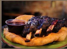 Bison ribs with blueberry BBQ sauce from Tocabe in Denver, Colorado. A Native American food restaurant yumm. Saw this on diners drive in and dives show on food network. Def on my bucketlist!!