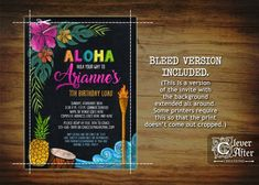 0c9b4332e01 Luau Birthday Invitation Hawaiian Party Invite Pineapple Tropical Summer  Pool invitations Aloha colorful chalkboard swimming Thank you card