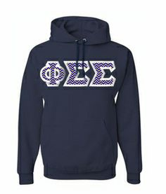 $40 Phi Sigma Sigma Custom Twill Hooded Sweatshirt #greekgear #sororityhoodie