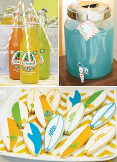 Refrescos y galletas para una fiesta verano / Refreshments and cookies for a summer surf party
