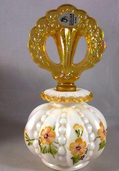 "FENTON PERFUME YELLOW BOTTLE HP by K. BrightBILL & NANCY FENTON -NEW IN BOX - 6"""