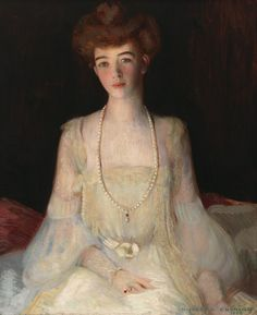 """""""Mrs. Harry Payne Whitney,"""" Howard G. Cushing, 1902, oil on canvas, 24 1/8 × 20"""", Whitney Museum of American Art. Gertrude Vanderbilt Whitney and Howard Gardiner Cushing shared a studio overlooking the ocean along the Cliff Walk in Newport."""