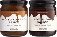 williams-sonoma - salted caramel and hot fudge sauce packaging - design sarah hingston Ice Cream Packaging, Jar Packaging, Cool Packaging, Food Packaging Design, Brand Packaging, Choco Jar, Sauce Au Caramel, Salsa Dulce, Summer Ice Cream