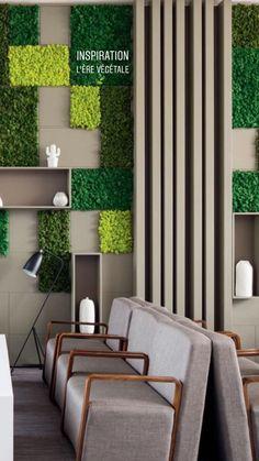 Cafe Interior Design, Interior Exterior, Interior Walls, Foyer Design, Wall Design, House Design, Green Wall Decor, Moss Wall Art, Office Space Design