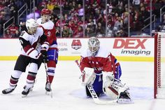 WASHINGTON, DC - NOVEMBER Braden Holtby of the Washington Capitals makes a save in the second period against the Arizona Coyotes at Capital One Arena on November 2018 in Washington, DC. (Photo by Patrick McDermott/NHLI via Getty Images) Washington Capitals Hockey, Washington Dc, Braden Holtby, Arizona Coyotes, Capital One, Nhl Games, Hockey Teams, Period, Two By Two