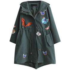 Dark Green Butterfly Embroidered Drawstring Waist Hooded Coat ($71) found on Polyvore featuring women's fashion, outerwear, coats, embroidered coat, pattern coat, long sleeve coat, hooded coat and long hooded coat