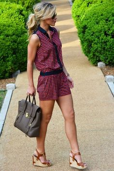Cute summer romper. Shorts romper. Red and black print romper. Wedges. Summer.