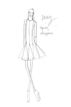Fashion Sketch - black & white fashion illustration of a DKNY outfit