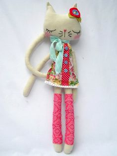 Gabriella Large Linen nooshka Kitty by nooshka on Etsy