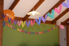 charlie and lola butterfly bunting - cut shapes and sew together.  I was cheap and just used bright coloured construction paper instead of more charlie and lola-ish paper!