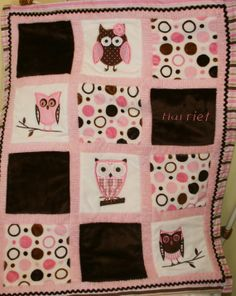 Love this...there's that owl theme again, Nicki! #babies #blanket #owls