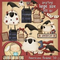 Americana Redone 1 - Primsy Doodle Designs Country Clip Art