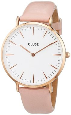 1bcdeca2797a Cluse Damen-Armbanduhr Analog Quarz Leder CL18014 Розовая Кожа, Черные  Кружева, Watches,